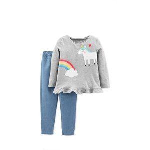 🦄2pc Unicorn Peplum Top & Chambray Pants NWT